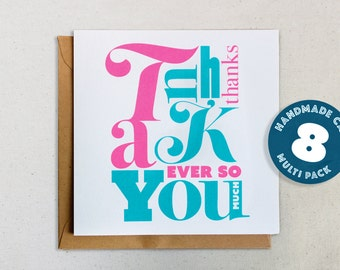 Hand Printed Thank You Card, Screenprinted Card - Pack of 8 cards