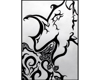 Tribal dragon ink drawing A4 black and white card fantasy art mythical beast illustration stylised fire breathing geek gift idea