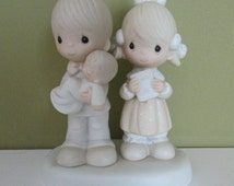 Rejoicing With You-1980 Precious Moments figurine-Couple with Baby,religious gifts,new baby/Baptism gift,ENESCO #4724,porcelain collectibles