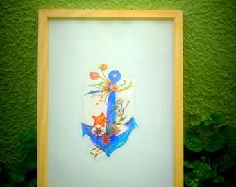 Anchor with flowers original artwork framed travel or beach theme