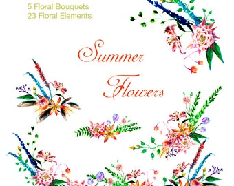 Summer Flowers Collection: ready-made bouquets, various blooms, leaves for your floral arrangement, Clip Art, Digital Download, Clipart