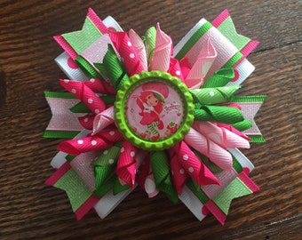 Strawberry Shortcake Korker Stacked Hair Bow