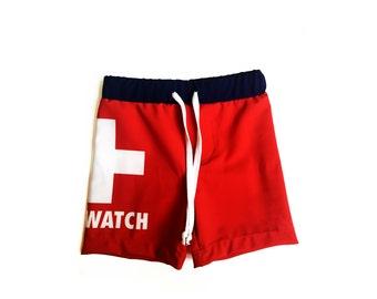 Toddler Boy Boardshorts, Kids Swim Shorts, Boys Lifeguard Boardshorts, Kids Red Summer Shorts, Beach Party Outfit