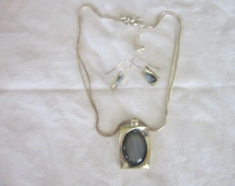 Vintage Designer K C Silver Tone Double Snake Chain with Moonstone Pendant & Matching Earrings