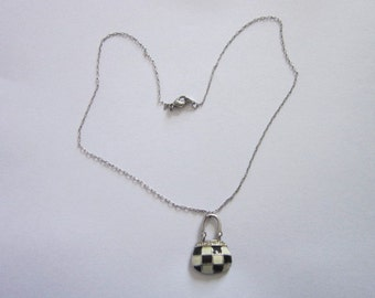 Vintage Black & White Purse Charm with Rhinestones Necklace