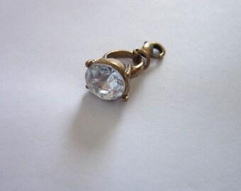 Vintage Faux Hope Diamond Ring Charm Bracelet Charm