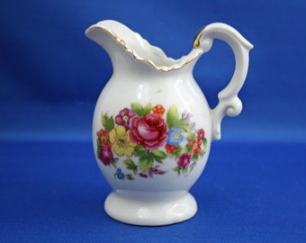 Vintage Ceramic Floral Transferware Hand Painted Accents Creamer Made in Japan miniature pitcher