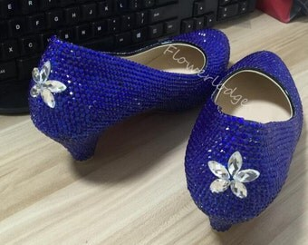royal blue Shoes sparkle women shoes heels closed toe Lower heels lady shoes Customize Crystal Shoes For Girls&women Clean Rhinestone