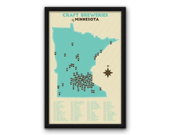 "Minnesota Craft Breweries Map (11x17"") - ON SALE"