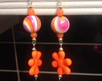 Colouful citrus orange and purple swirls. Earrings New