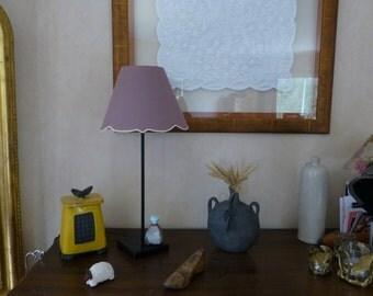 Lampshade, linen, pink, beige braid, lampshade, linen, old pink, beige braid