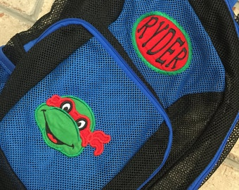 Monogrammed Backpack | Mesh Backpack | Back to School | Ninja Turtles  Backpack | Boys Backpack | Mesh Backpack | Embroidered Mesh Backpack