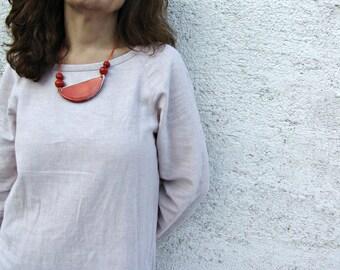 Ceramic necklace, handmade ceramic necklace in red