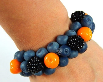 Berries bracelet, handmade2016,handmade finds,polymer clay jewelry,gift for her,berry,handmade2016,blue berry,yellow berry,blackberry,rustic