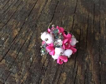 Purple adjustable ring. Flower ring. Polymer clay ring. Handmade ring. Polymer clay.
