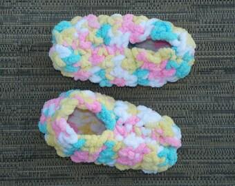 Fluffy Slippers, Soft Slippers, Crochet Slippers, Girl Slippers  Infant to Toddler