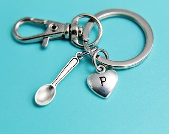 Silver Spoon Charm Keychain Silver Spoon Keychain Silver Keychain Miniature Spoon Charm Heart Charm Keychians Gifts for Her under 30
