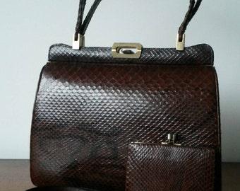 Real Snakeskin Handbag, Matching Purse & Belt. Burgundy Python. Excellent Condition.