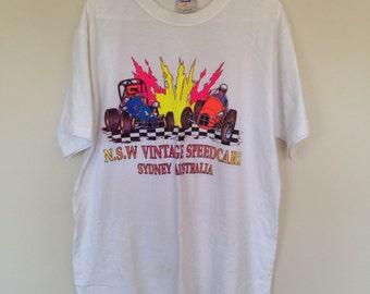 NSW VINTAGE SPEEDCARS T-Shirt Sydney Australia Fluro White