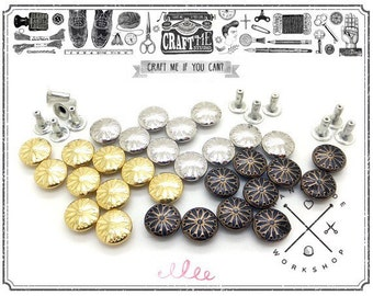 "100PCS 3/8"" Metal ANTIQUE FLOWER RIVET Studs Leather Decoration."