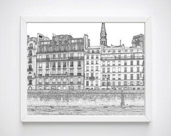 Black and White Sketch Prints, Paris Wall Art, Art Printables, Paris Bedroom Prints, Paris Print,Paris Illustrations, Paris Art Prints,