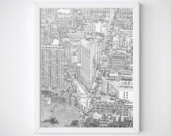 New York City Print, New York Skyline,  Flatiron Building, New York Art, Black and Whites Sketches , Sketches, New York Gifts