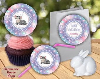 Cat Sticker Kitten Cupcake Toppers Birthday Party Cats favor tags circles Girl Pink Purple Green Kittens Thank you labels CTCat1