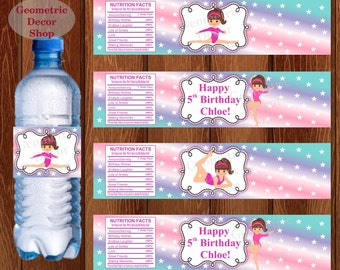 Water Bottle Labels Birthday Printable Gymnastics Tags Gymnastic Party Printable Teal Girl Pink Purple Aqua Party pink purple WLG3