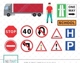 Traffic signs clip art, Road signs clipart, vector graphics, traffic symbols clipart, truck clip art, digital images