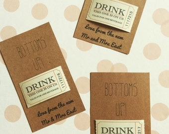 Personalised Bottoms Up Drinks Tokens