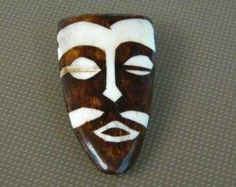 Tiki Mask Inlaid Wood Brooch