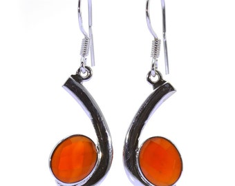 Carnelian Earrings, 925 Sterling Silver, Unique only 1 piece available! color orange, weight 4.6g, #37637