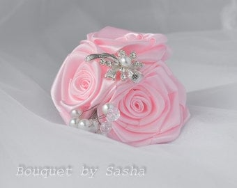 Wedding corsage, Pink corsage, Bridal corsage, Wedding accessories, Flower corsage, Bracelet corsage, Silver corsage, Rose corsage, wedding