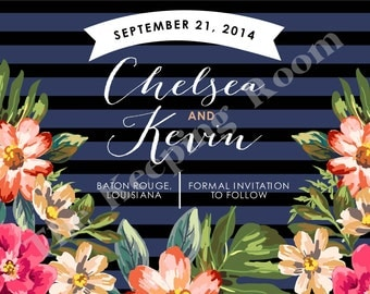 Striped & Floral Save the Date Invitation