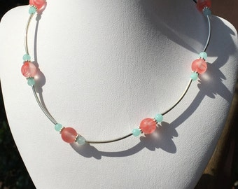 Funds childhood cancer research | Handmade Czech Glass and Alabaster Necklace