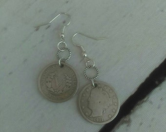 Coin earrings - v nickel coin earrings - vintage coin earrings - liberty nickel jewelry