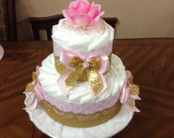 Two Tier Diaper Cake/ Elegant Baby Shower Pink and Gold/ Unique Centerpiece/ Gift/ Girl Diaper Cake.
