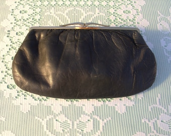 French Vintage 1960s Clutch Bag Purse in Black Leather with Gold Clasp