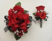 Wedding Prom Metallic Black Red Rose Flower Wrist Corsage or 2pc with Boutonniere