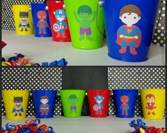 10 Metal Superhero Favor Pails, Avengers Inspired Favors