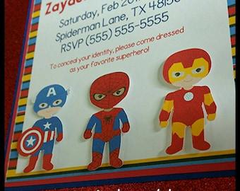 10 (3D) Superhero Invitations, Avengers Inspired Invitations, Comic Invitations, Baby Shower Invitation