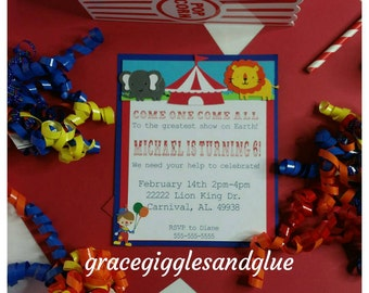 10 Carnival/Circus Themed Invitations, Circus Baby Shower Invitations