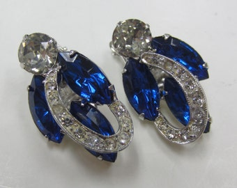 Vintage Weiss Clip-On Earrings - Signed with Blue and Clear Stones