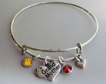 Grandmother Heart Charm / Bangle / Bracelet  W/ Two Birthstones / W/ Small Heart Accent  / Wedding  Bracelet / Bridal / Usa  F1