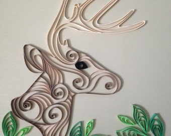 Handmade Quilled Paper Deer Art