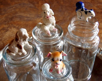 Glass Jars with Vintage Porcelain Animals on tops