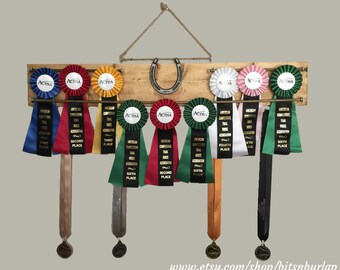 2.5ft Horseshow Ribbon Rack, Wooden Ribbon Display Hanger, Equestrian, Horses