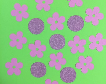Flower & Circle Confetti Pink Glitter and Card Stock Die Cut Wedding Baby Scrapbook Announcement Stationery Party Birthday Decorative