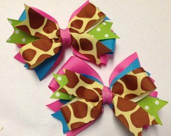 "Set of 2 pigtail bows - 5"" Giraffe MTMG m2mg hair clip bow birthday party toddler baby piggies teen hot pink turquoise lime green polka dot"