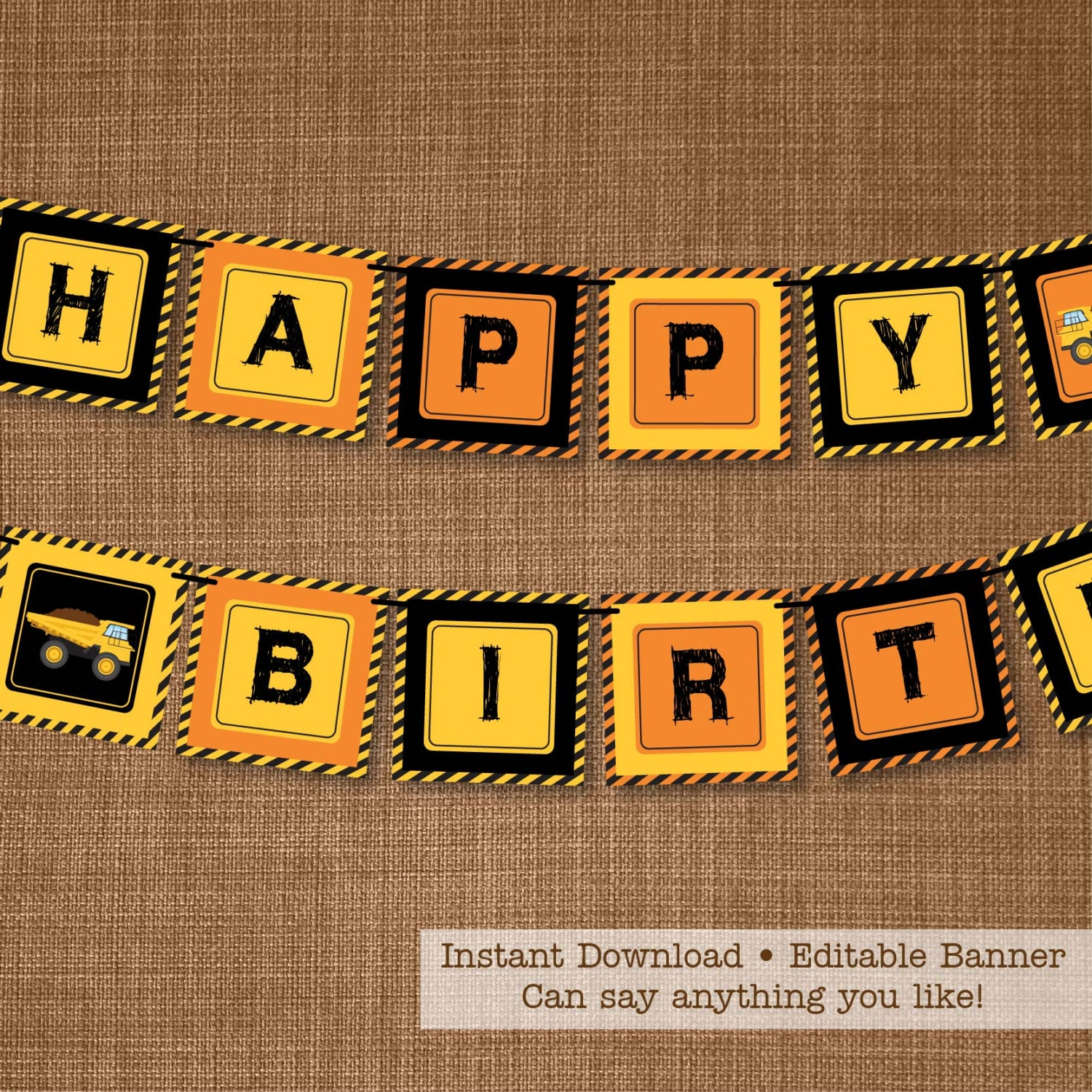 Construction Party Banner Birthday Banner By
